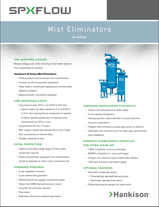 Industrial Air Filtration mist eliminators